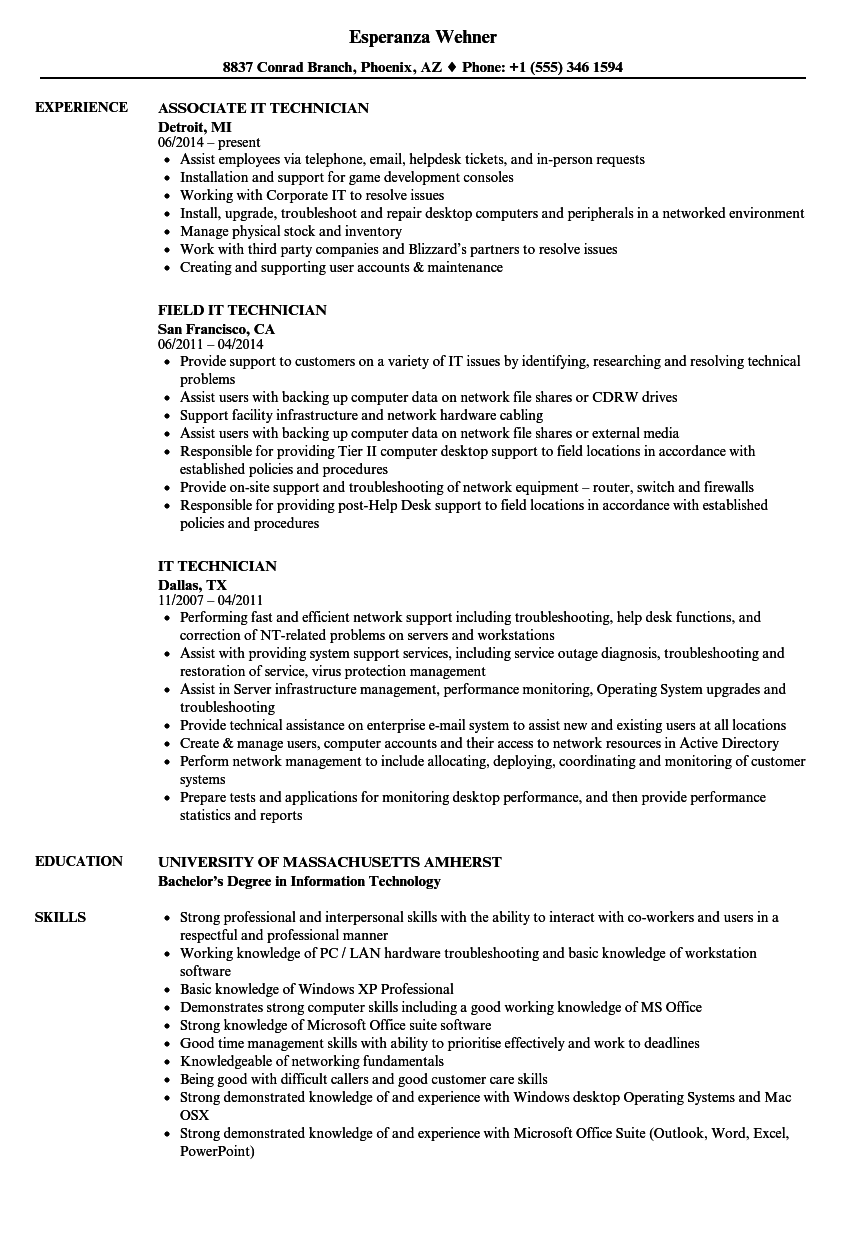 it technician resumes