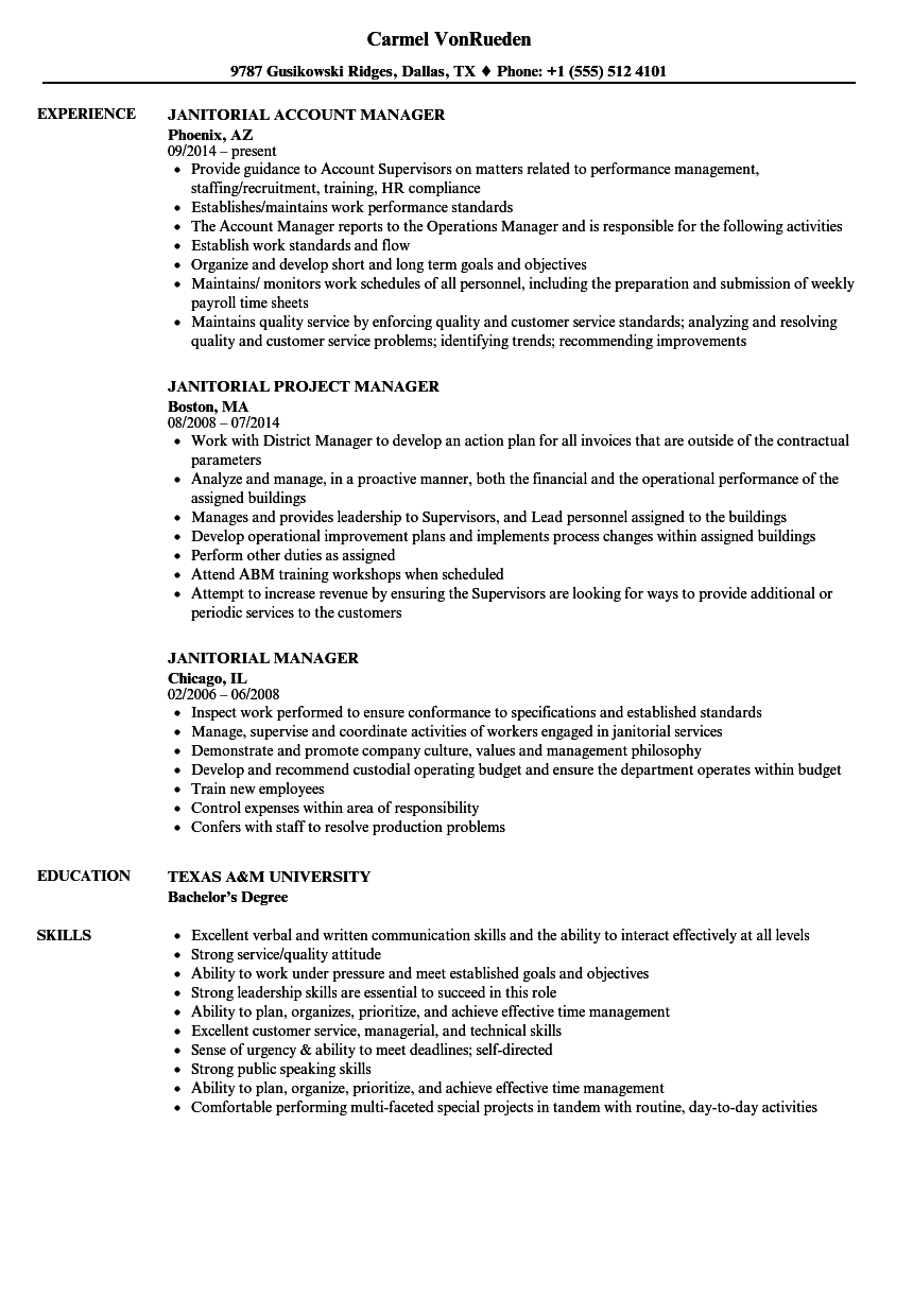 resume examples janitorial