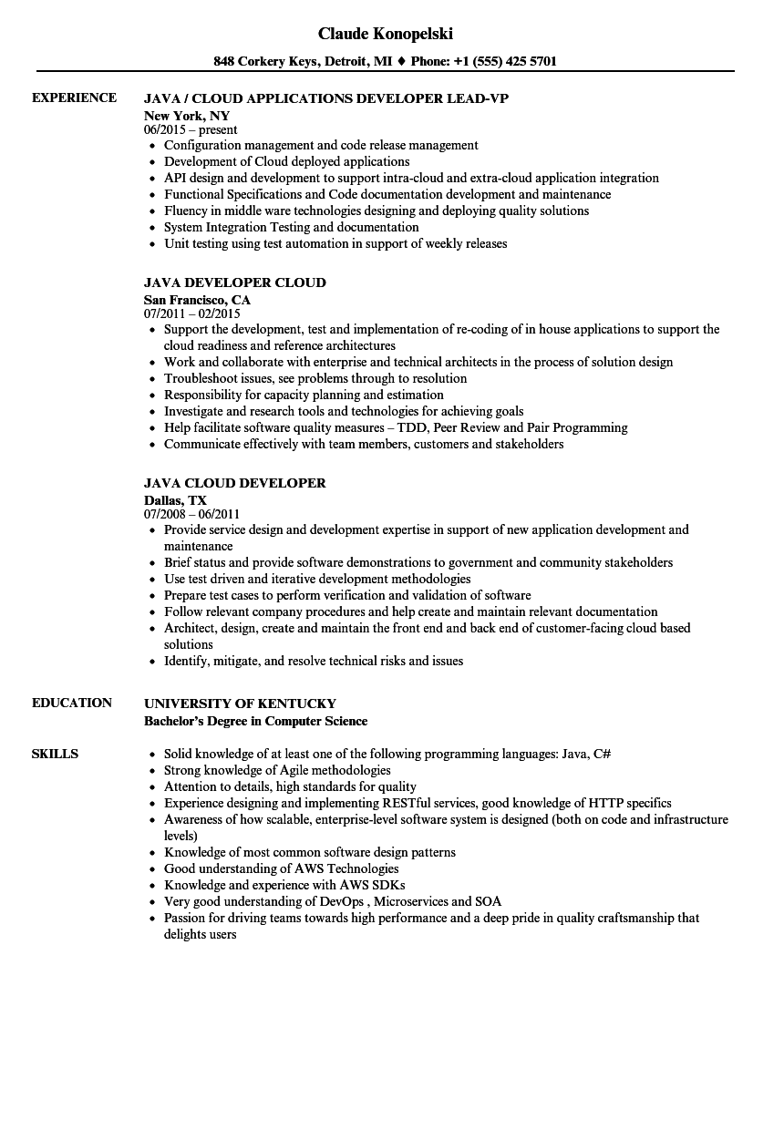 microservices sample resume