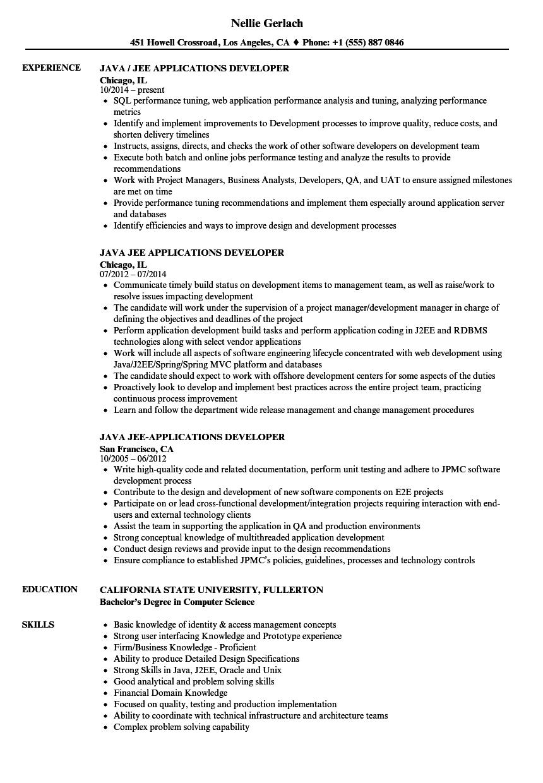 spring boot developer resume samples