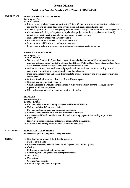 resume format jewellery shop
