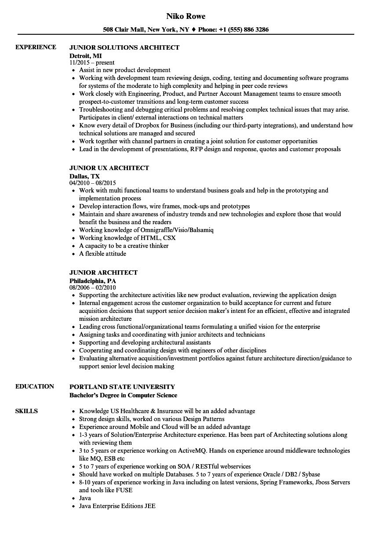 junior software architect resume sample
