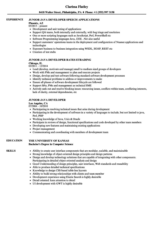 junior java developer resume examples