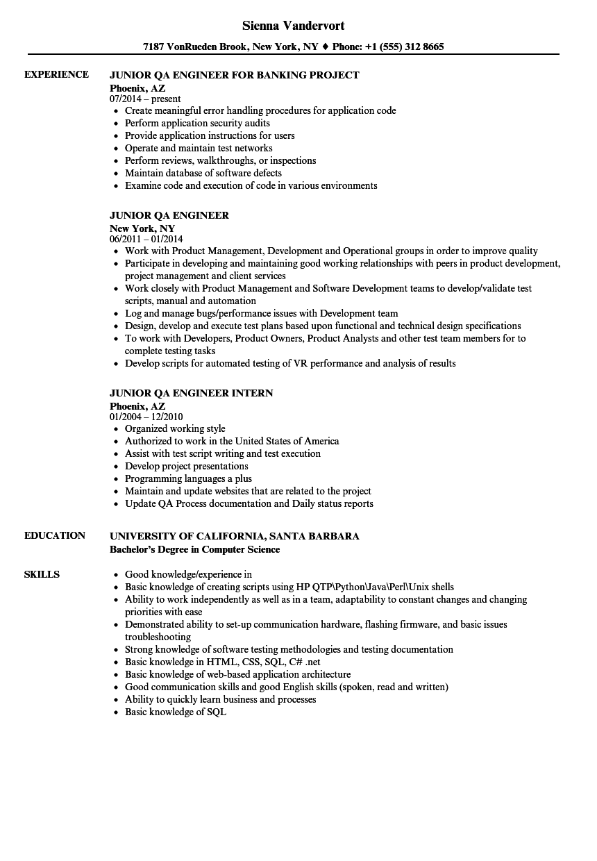 software quality engineer resumes