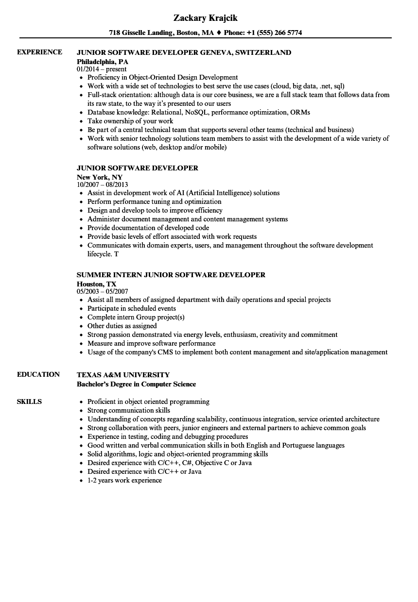 resume examples computer science back end software