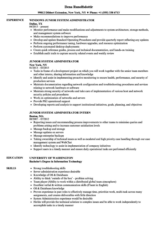 resume sample for system administrator
