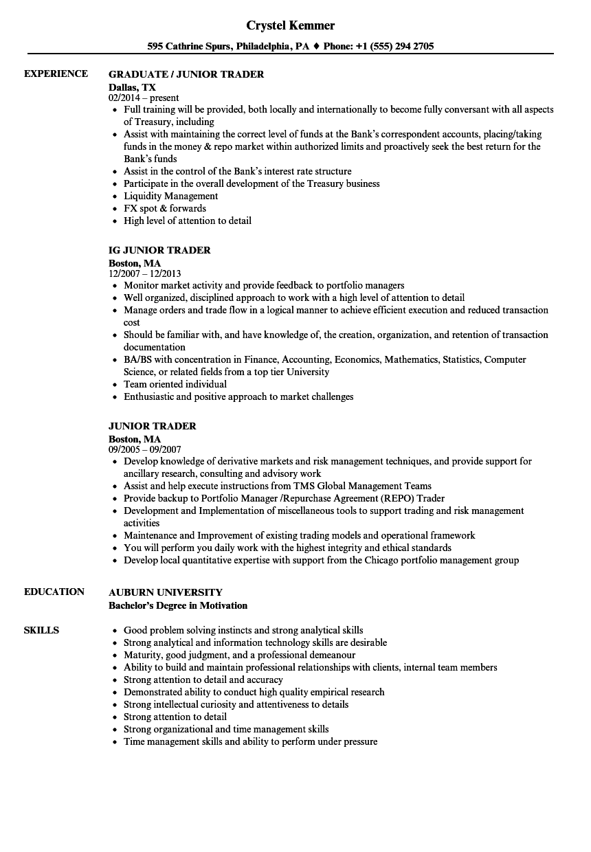 equity trader resume sample