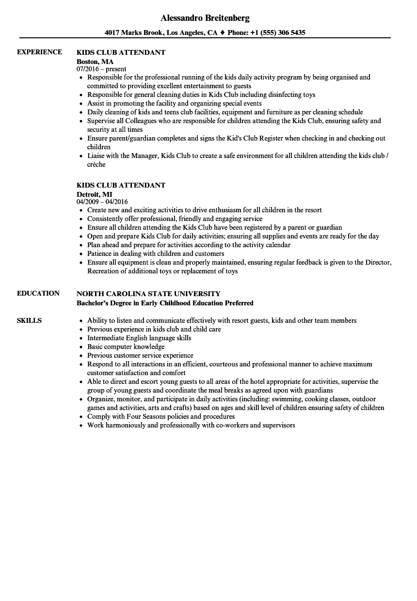example of skills in resume for working with kids