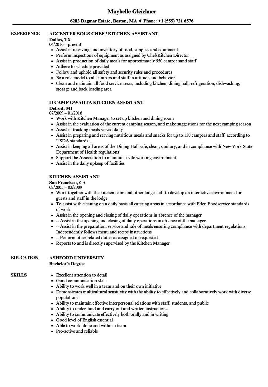 resume example for kitchen helper