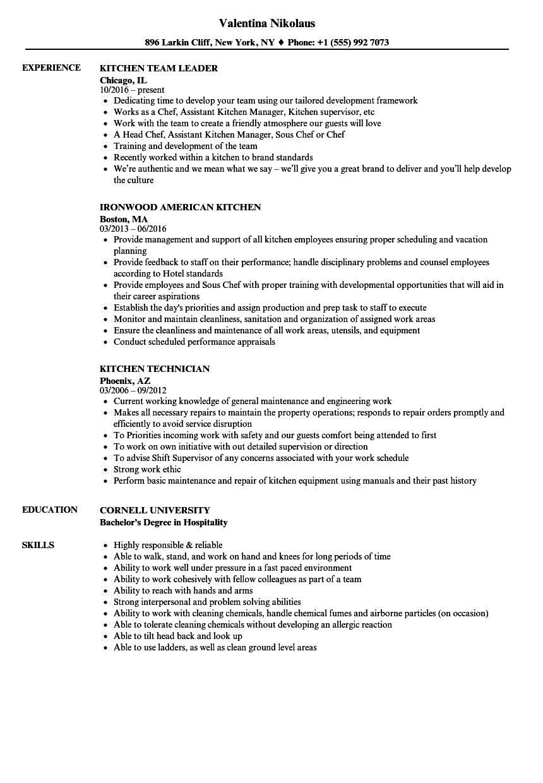 sample resume of kitchen supervisor