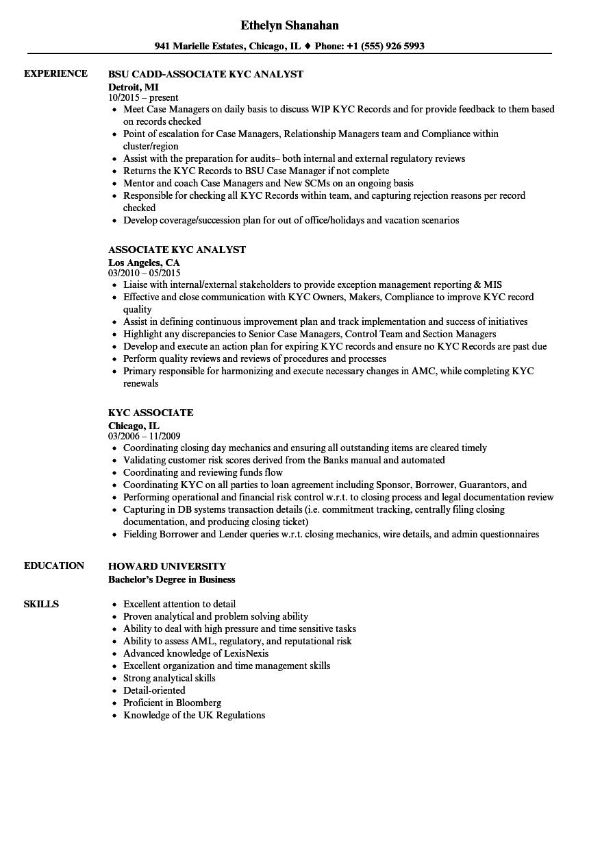 associate analyst resume sample