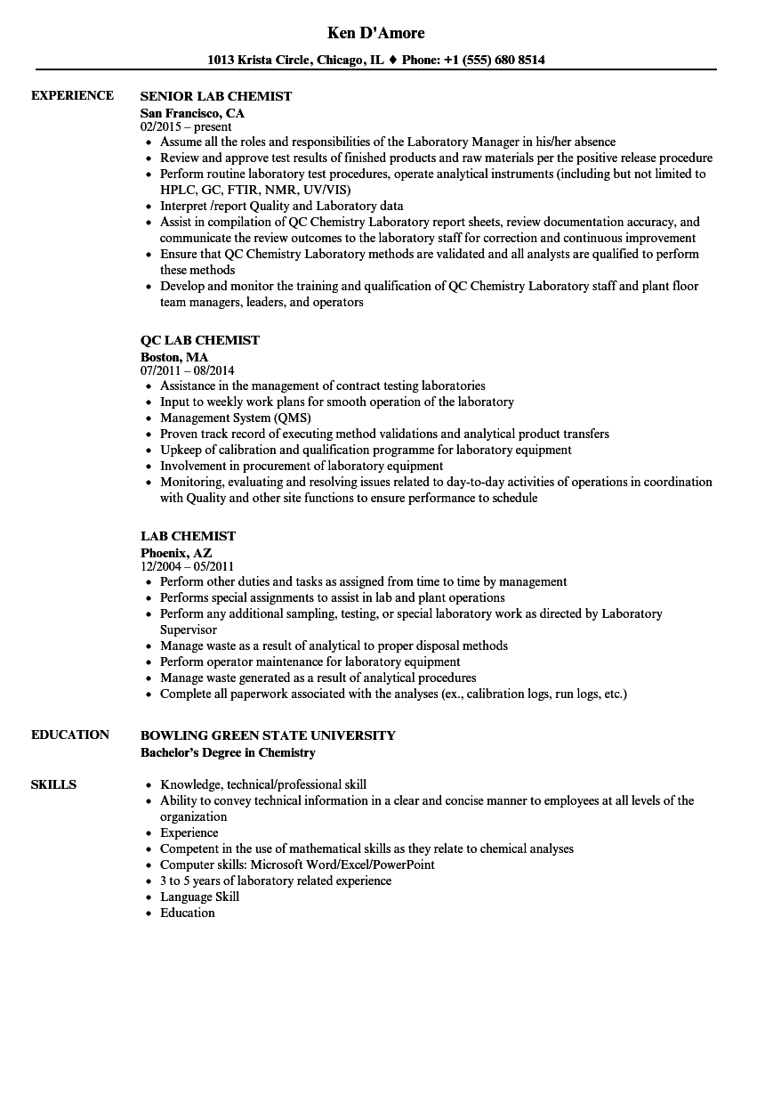 resume examples laboratory manager
