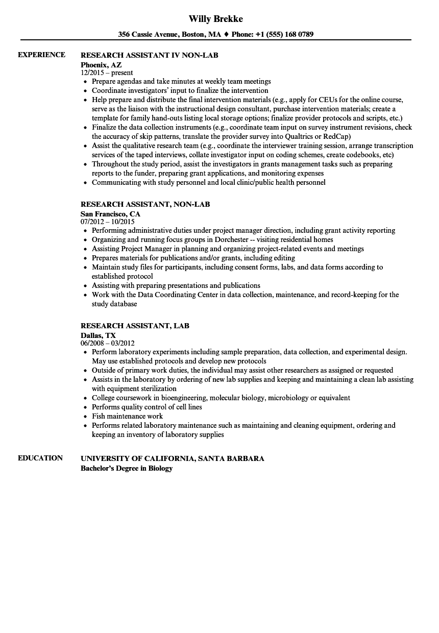 resume research assistant sample