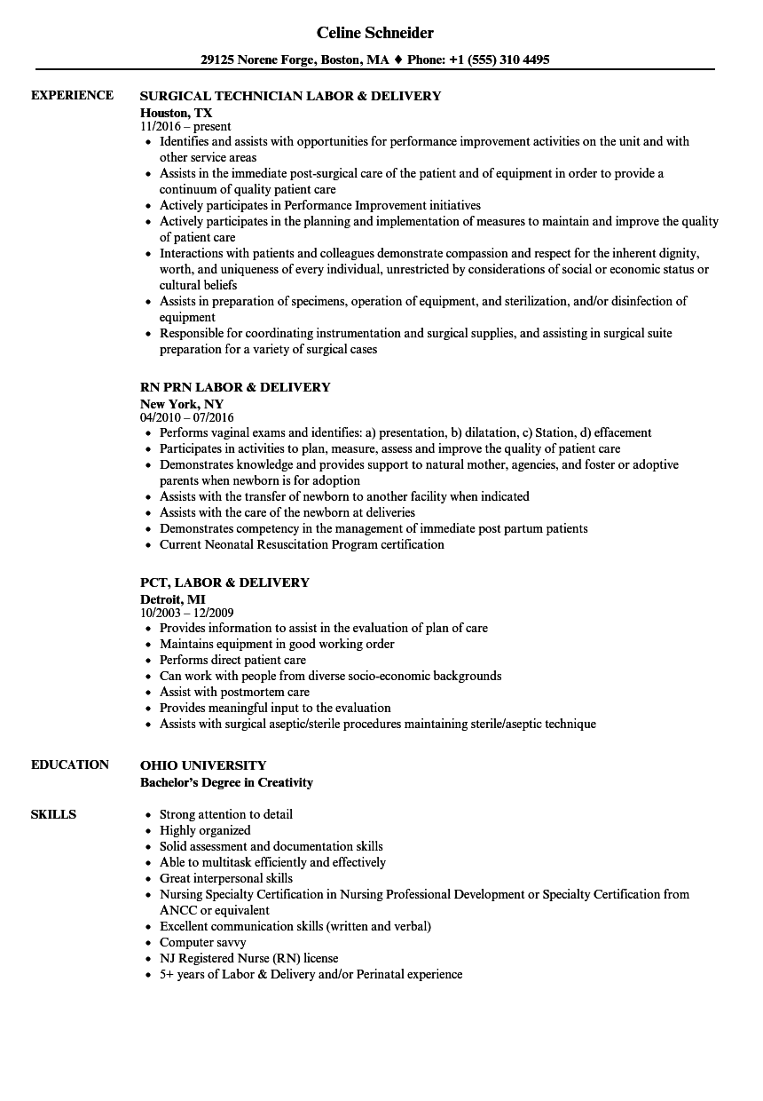 example of labor and delivery nurse resume