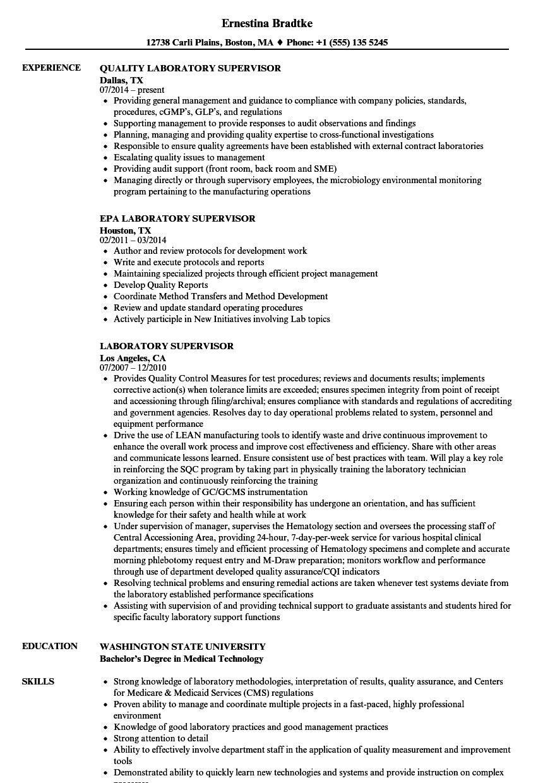 laboratory supervisor resume examples