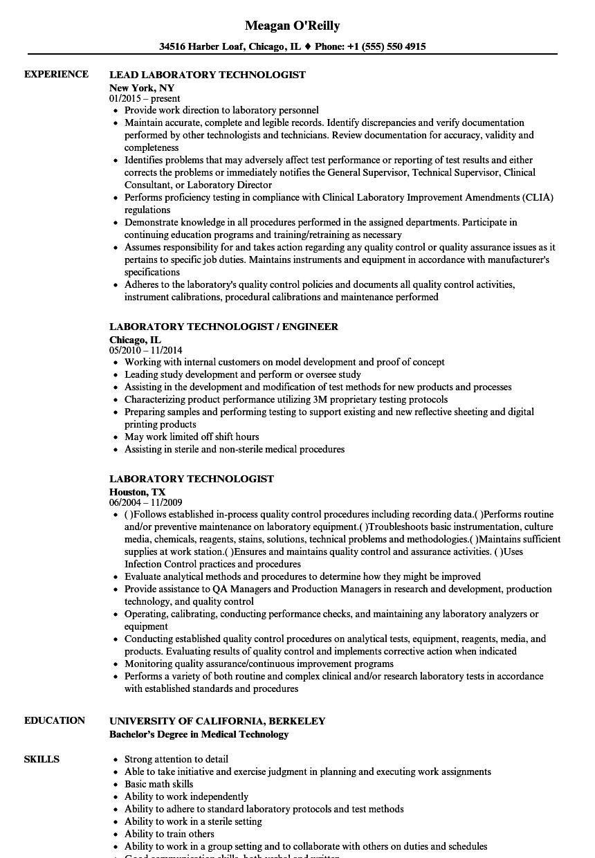 medical laboratory technology resume sample