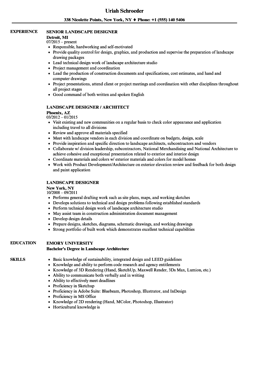landscape designer resume sample