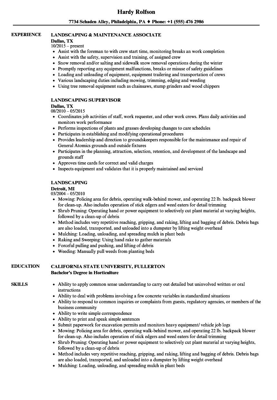 sample resume for landscaping foreman