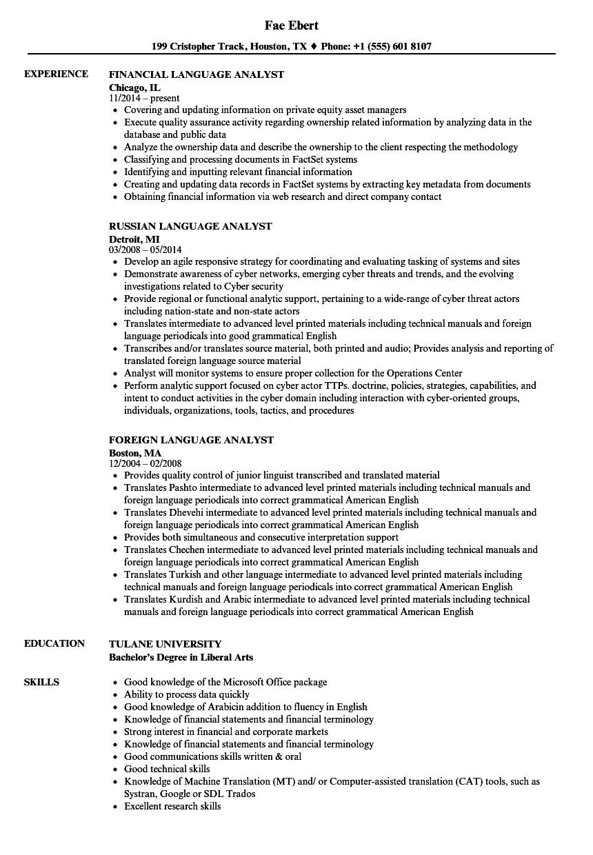 language resume examples skills