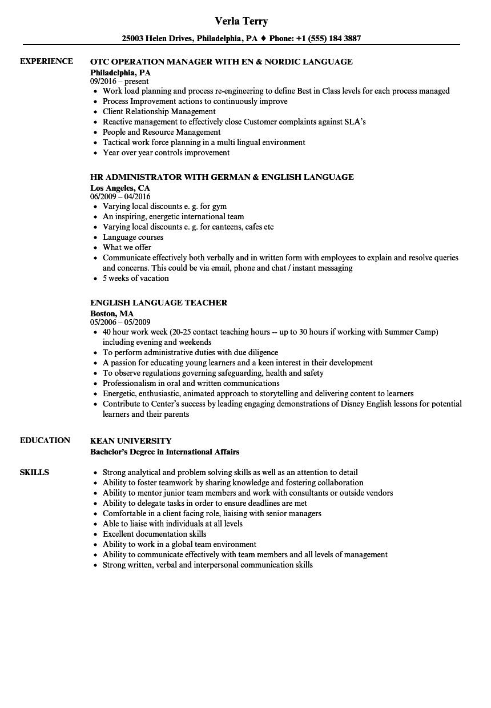 resume language proficiency example