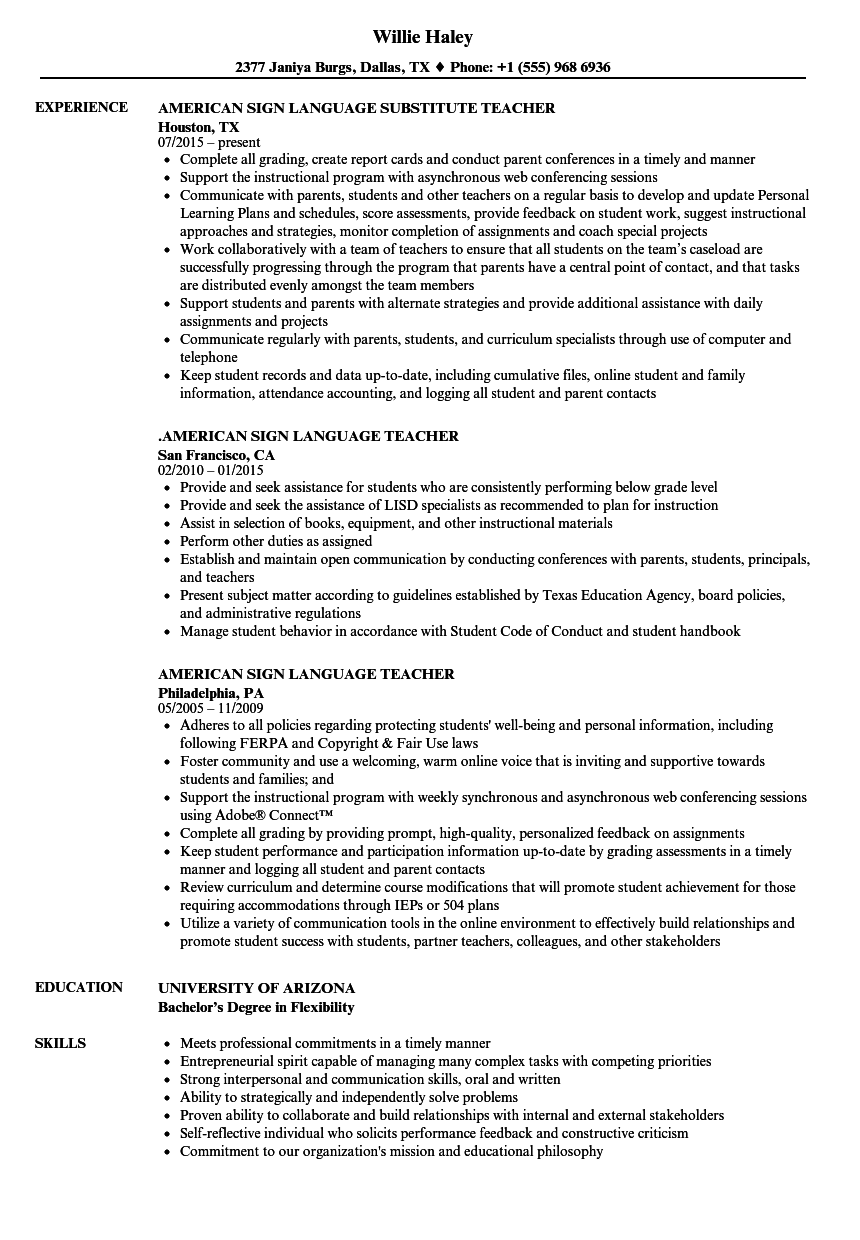 language instructor resume sample