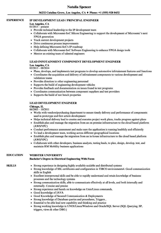 lead engineer resume sample