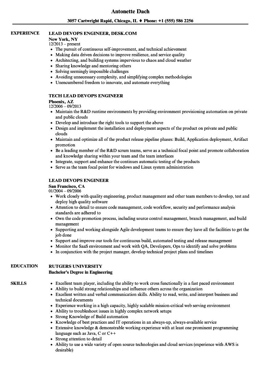 devops lead sample resume