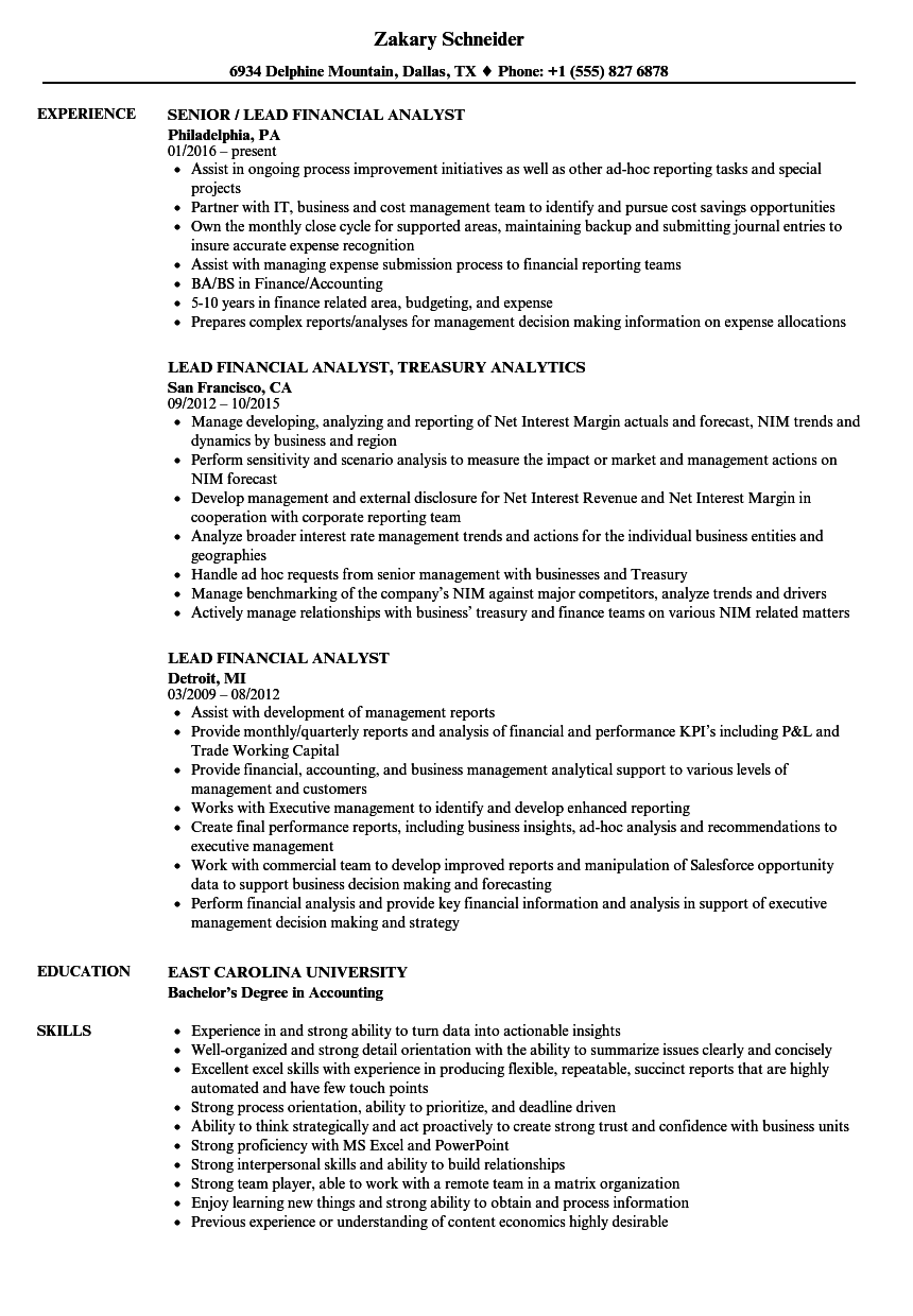 key terms for financial analyst resume