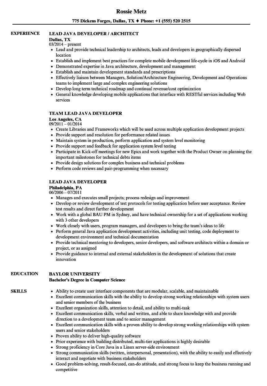 lead java developer sample resume