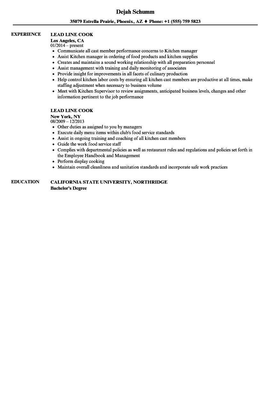 lead cook resume samples