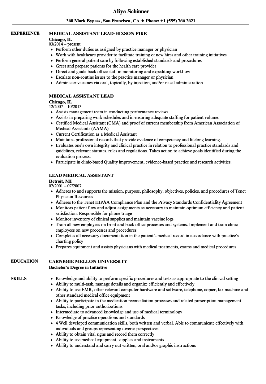 lead medical assistant resume sample