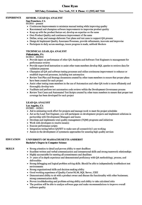 resume sample for qa