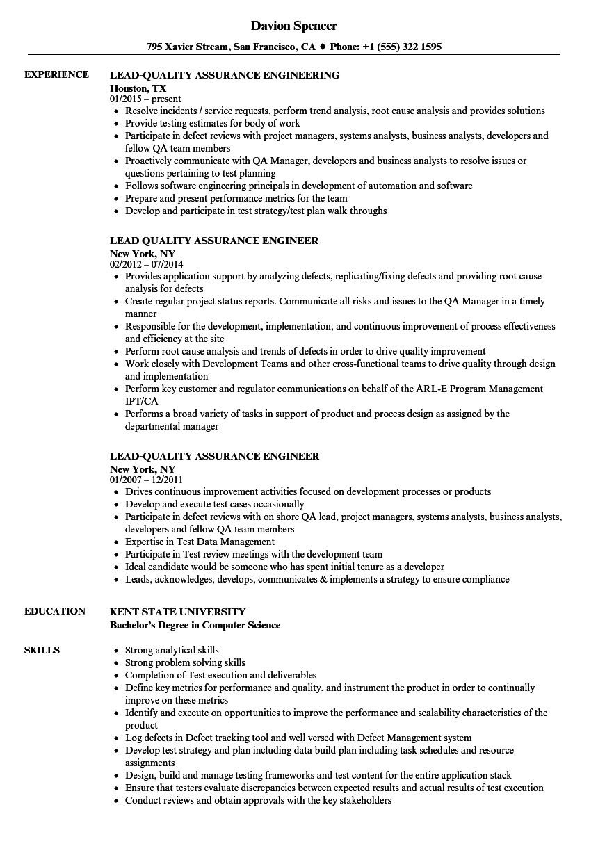quality assurance representative resume
