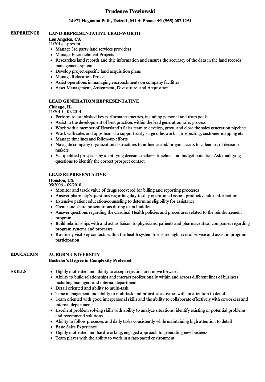 claim representative resume sample