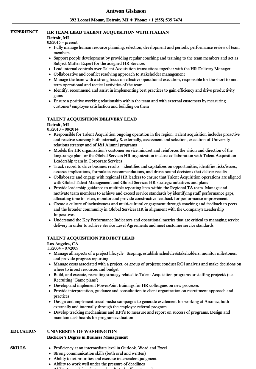sample acquisition on a resume