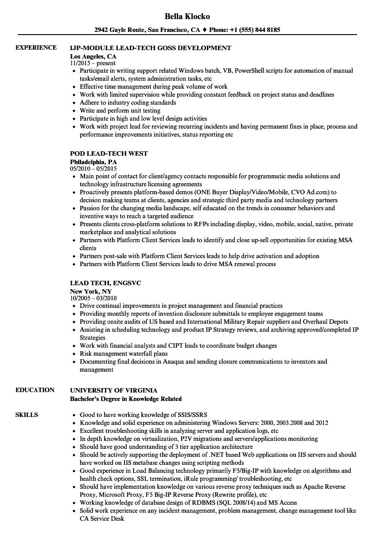 echo tech resume sample