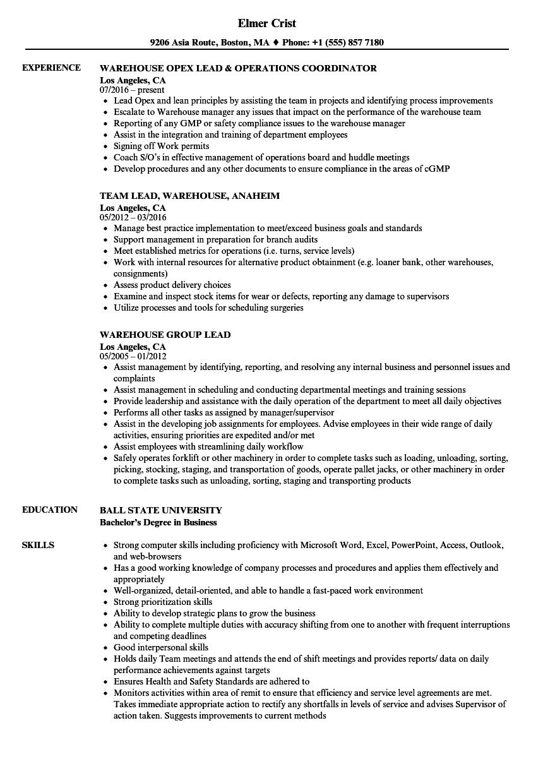 resume samples for warehouse lead