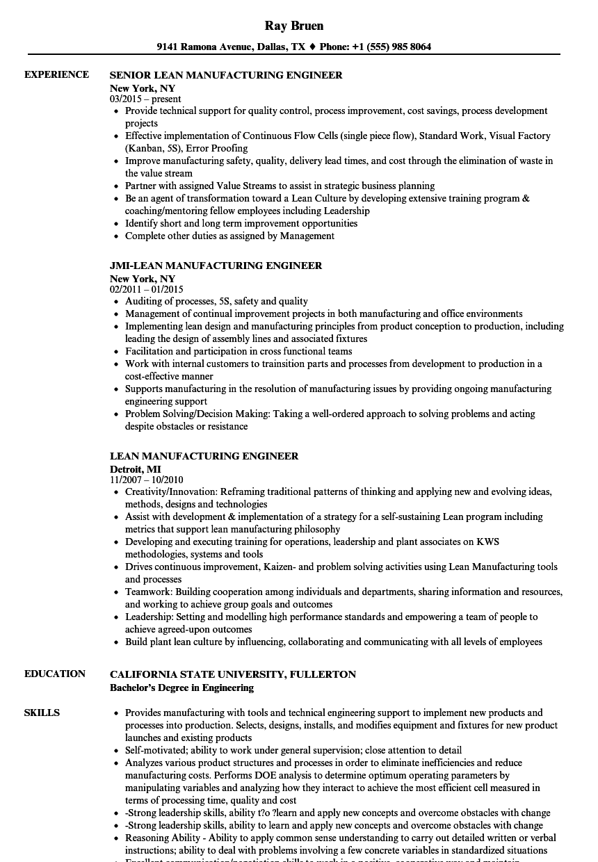 resume examples manufacturing engineer