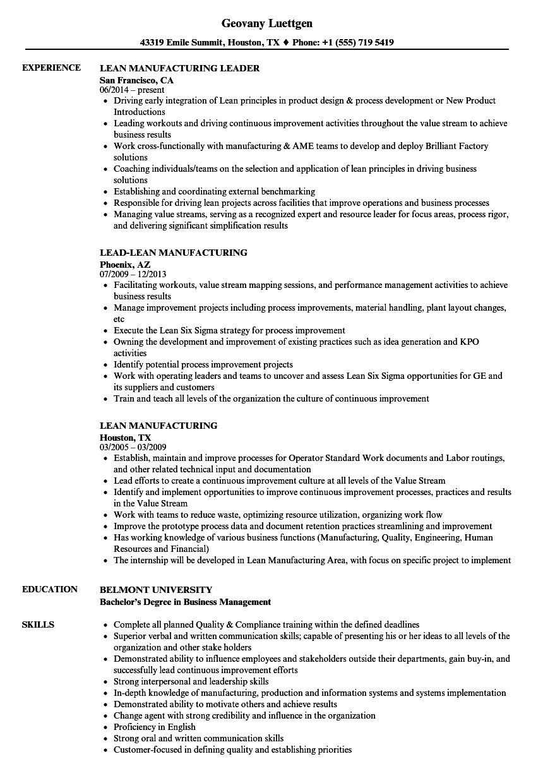 lean manufacturing resume sample