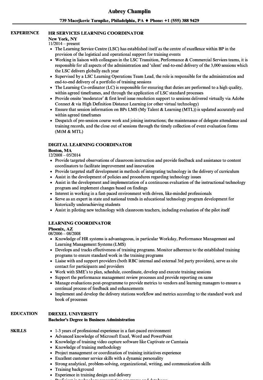 training and development coordinator resume sample