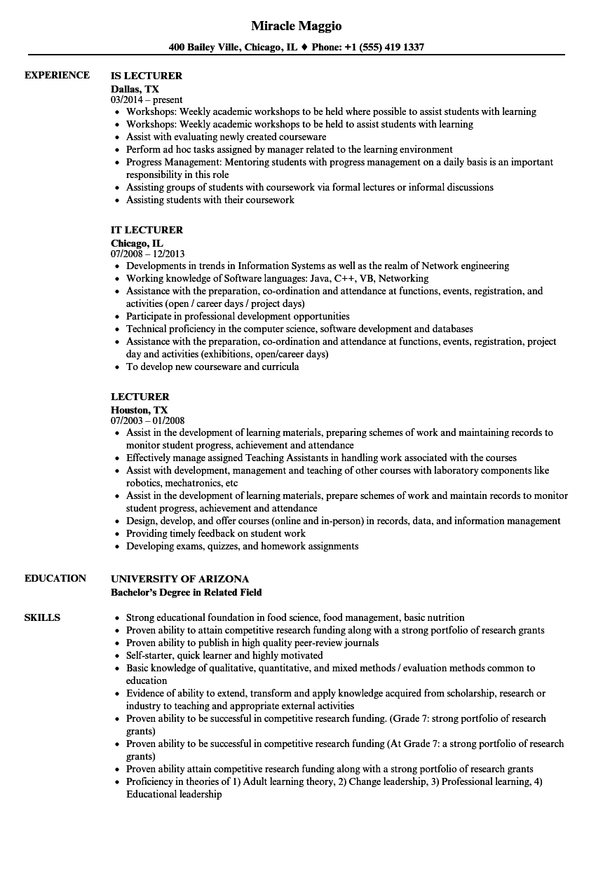 resume samples for lecturers
