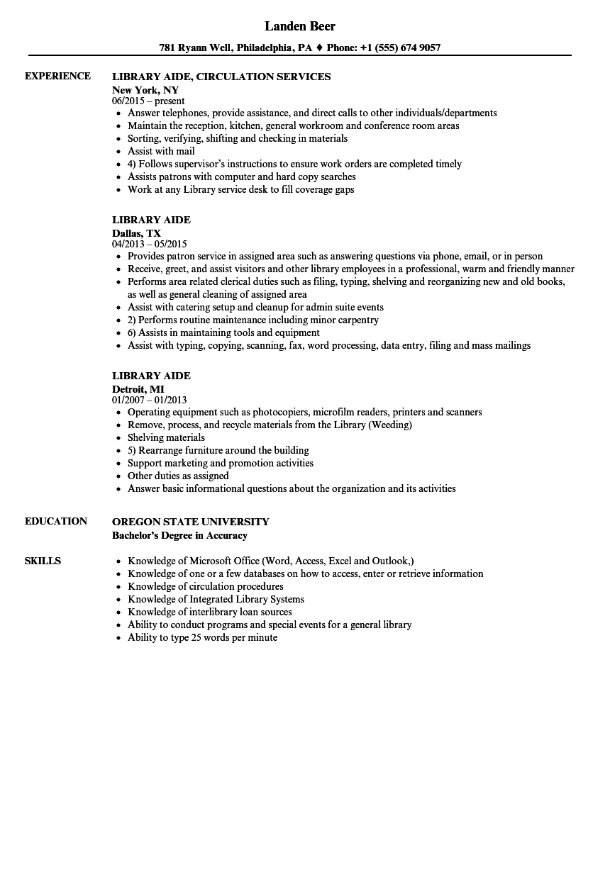 resume sample for library aide