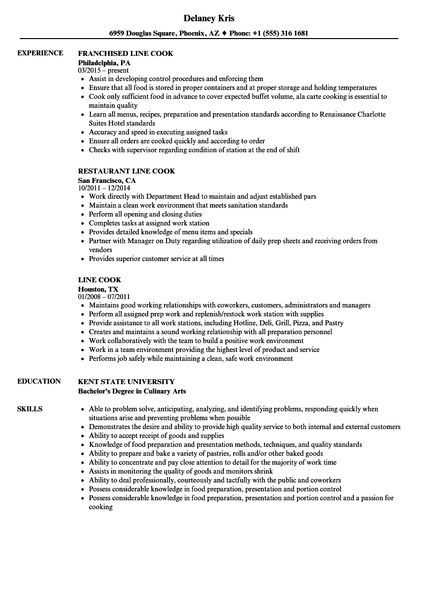 resume sample line cook