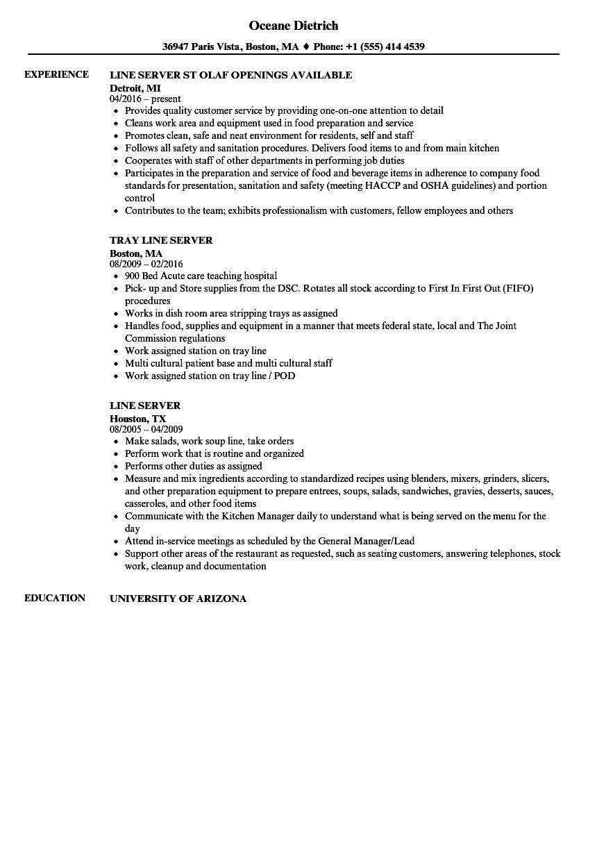 sample server resume examples