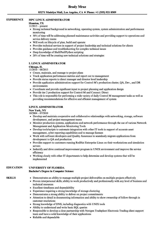 linux administrator cv