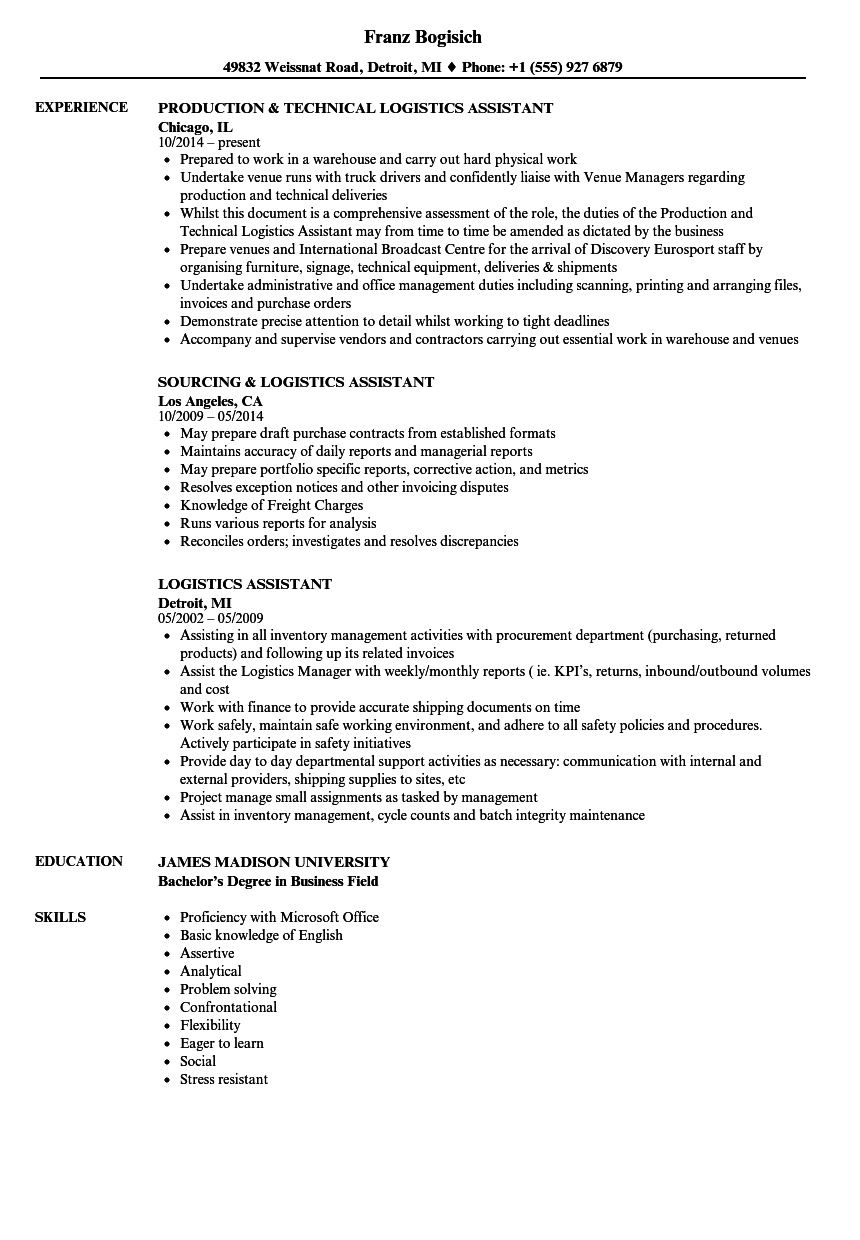 logistic assistant resume sample