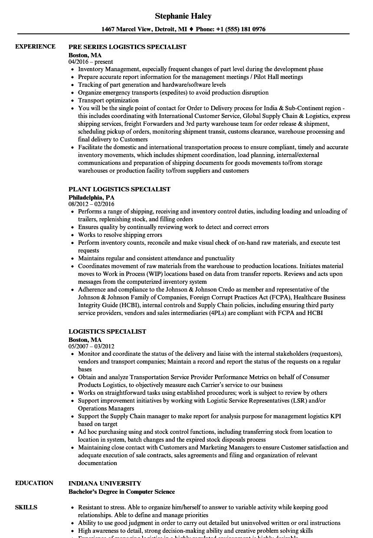 sample resume for export logistics