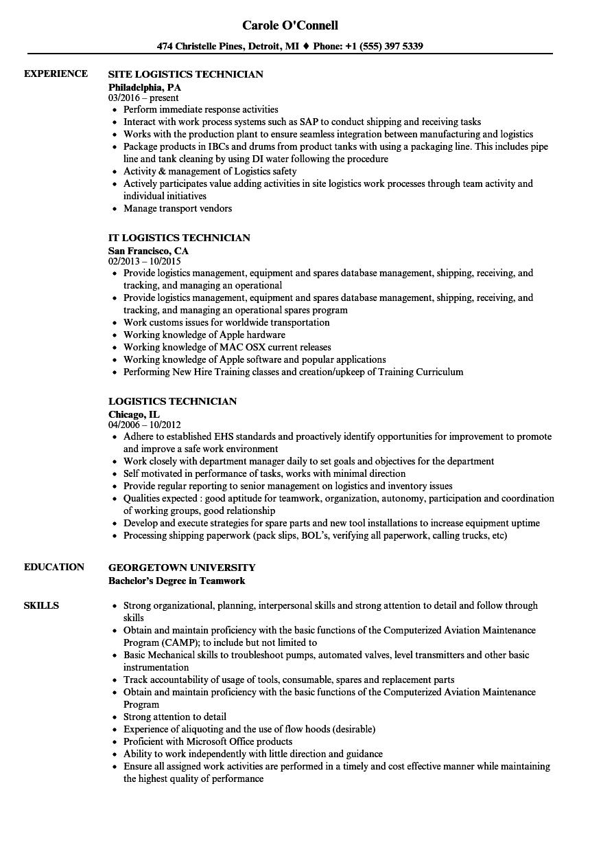 sample resume logistics specialist