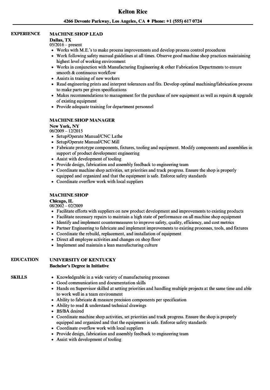 tool and die resume sample