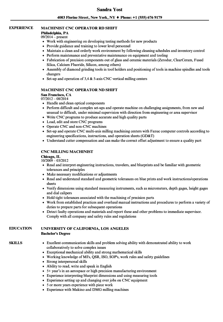 resume templates for cnc machinist